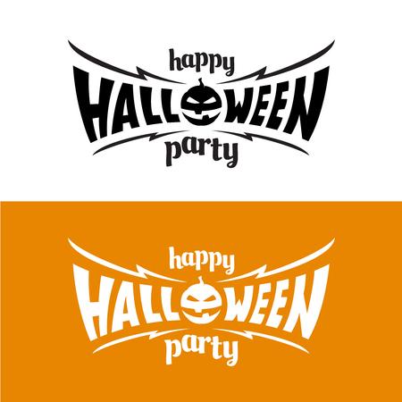 Happy hallowen party title template. Bat wings shape with evil pumpkin.