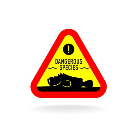 Dangerous species warning sign. Stonefish underwater on the bottom silhouette. Illustration