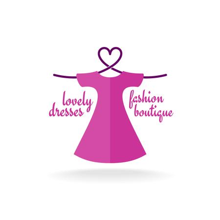 fashion boutique: Fashion boutique dress with heart shaped shoulder hanger Illustration