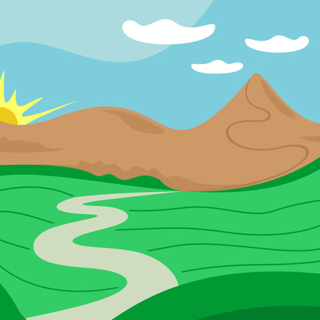 far away: landscape illustration with far away road, mountains, sun and clouds