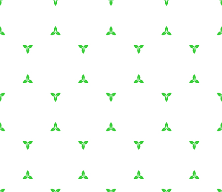 light green: Floral seamless pattern with distant three plant leaves elements Illustration