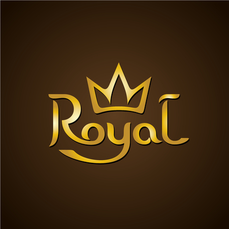 royal person: Royal golden letters text with crown.