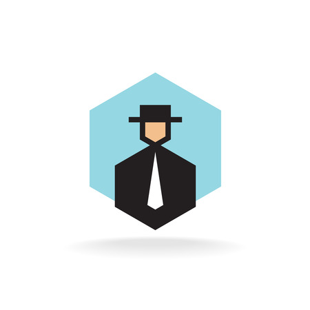 business suit: Business man in suit with tie and hat Illustration