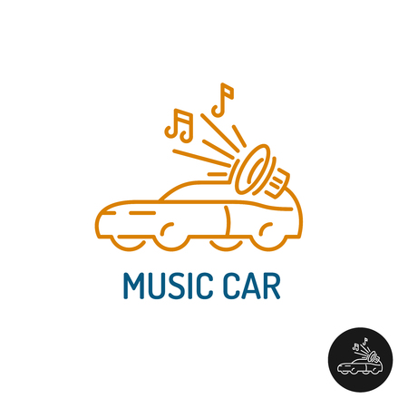 stereo subwoofer: Musi%u0441 car . Linear style vehicle silhouette with subwoofer and notes. Illustration