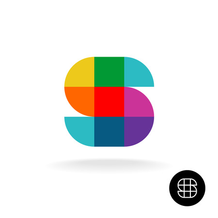 corporate identity template: Letter S colorful rainbow square and sector particles style