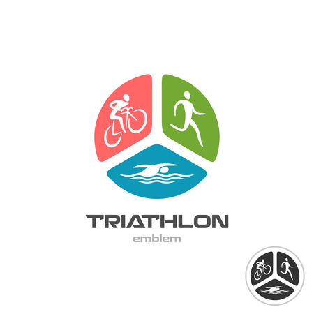 cyclist silhouette: Triathlon sport . Cyclist, running and swimming man silhouettes.