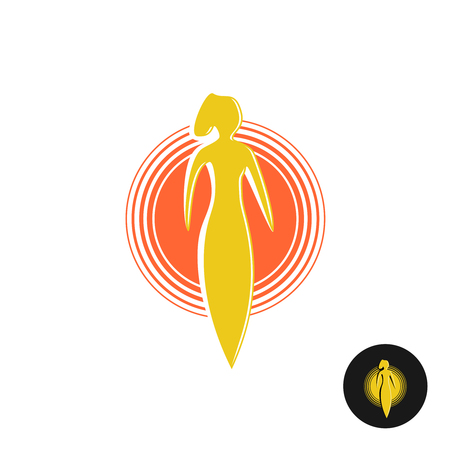 solarium: Tanning salon . Solarium concept. Woman figure with round sun heat sign. Illustration