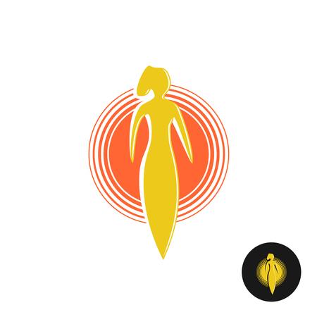 sun tanning: Tanning salon . Solarium concept. Woman figure with round sun heat sign. Illustration