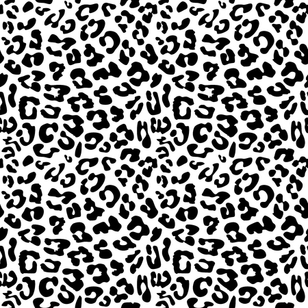 Leopard skin repeated seamless pattern texture. Black and white colors 2x2 tiles sample.