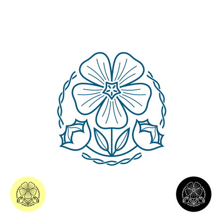 flax seed: Linen . Outline style illustration of a linen flower, seed boxes, leaves and weave lines around. Illustration