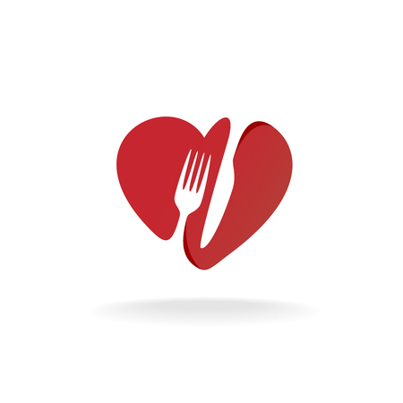 cutlery: Fork and knife with heart shape lovely food . Cutlery sign.