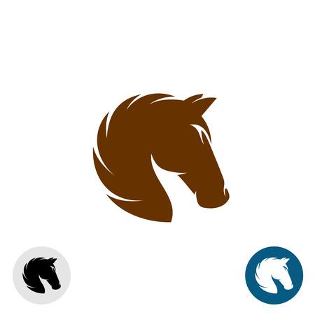 carreras de caballos: Cabeza de caballo . Sencillo y elegante silueta de un solo color. Vectores