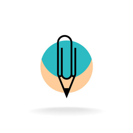 cleric: Pencil and paperclip symbol cleric office Illustration