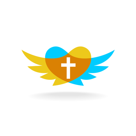 wings icon: Religion sign with wings, heart silhouette and cross Illustration