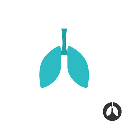 lung: Lungs silhouette simple symbol. Medical pharmacy sign. Illustration