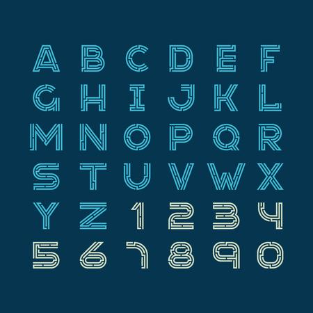 font: Cartas tecnología de fuente estilo lineal Maze. Diseño de construcción del alfabeto latino con números.