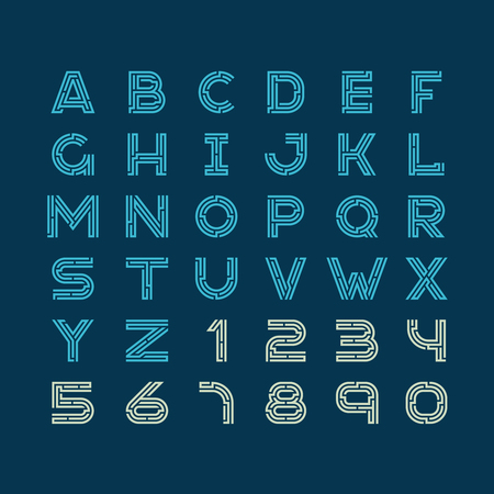 typeset: Maze tech letters linear style font. Construction design latin alphabet with numbers.