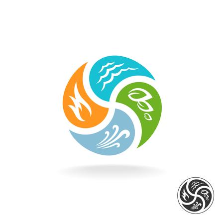 elemento: Quattro elementi naturali. Fuoco, acqua, vento l'aria e la potenza della natura. Vettoriali