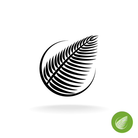 black silhouette: Palm leaf black silhouette icon in a round Illustration