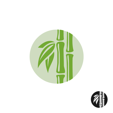 stalk: Bamboo . Leaves and stem in a round badge. Illustration