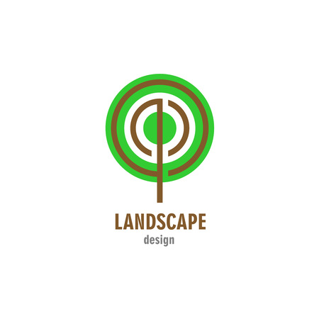agro: Landscape design . Round stylized tree symbol. Illustration