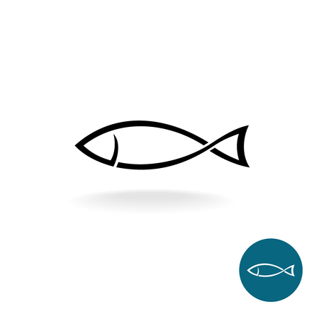 Fish simple black linear silhouette elegance template