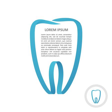 molar: Tooth blue ribbon frame style. Border stripe molar shape design decoration. Illustration