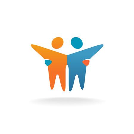 juntos: Dois amigos . Pessoas teamwork símbolo conceito. Ilustração