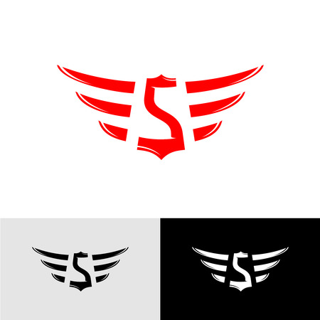 wing: Letter S with wings East Asia style Illustration