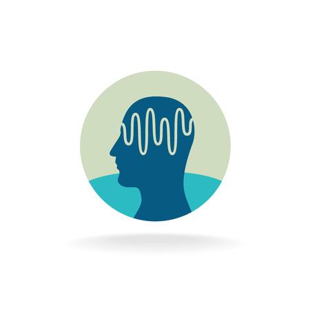 cerebro: Examen de la cabeza. Cerebro ilustración de forma de onda actividad. Vectores