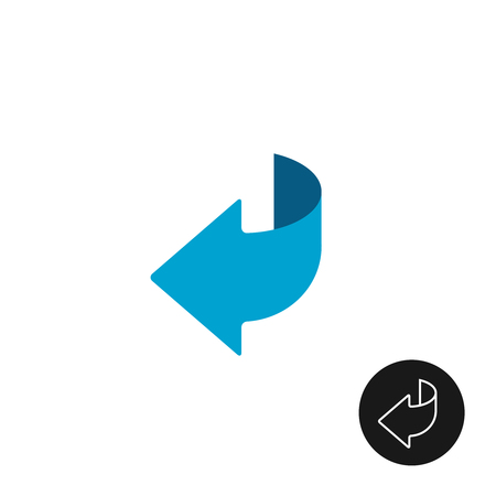 turn the corner: Page turn or back arrow flat and linear icon Illustration