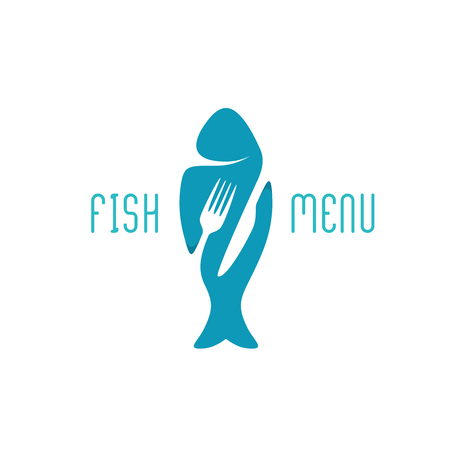 Fish food restaurant menu title . Silhouette of a fish with negative space style fork and knife cutlery.