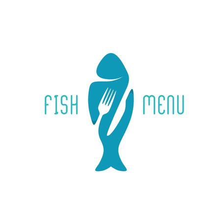 mariscos: Título de menú de un restaurante de comida de pescado. Silueta de un pez con tenedor negativo espacio estilo y cubiertos cuchillo.