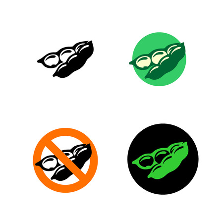 black bean: Soy bean icon with variations. Black, green and red colors.
