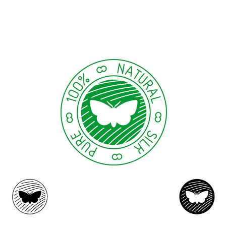coser: Seda . 100% insignia pura seda natural para la ropa. Silueta de la mariposa del gusano de seda con líneas finas símbolo.