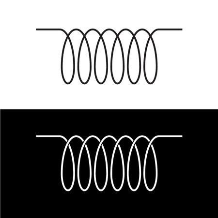 inductor: Induction spiral electrical symbol. Black linear coil element sign. Illustration