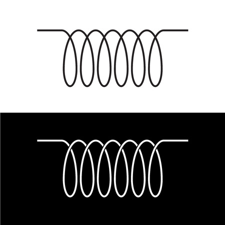Induction spiral electrical symbol. Black linear coil element sign. Vettoriali
