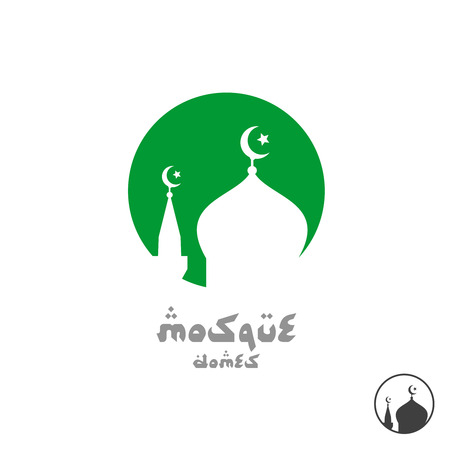 religious text: Arabian religious . Mosque silhouette in a round sign. Illustration
