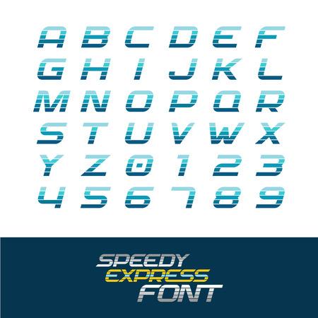 speed: fuente deportiva. movimiento dinámico cursiva y números con líneas de división horizontales. concepto de velocidad rápida. Vectores