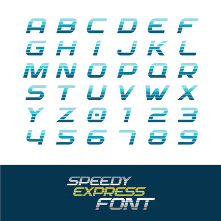 Sport font. Dynamic motion italic letters and numbers with horizontal division lines. Fast speed concept. Illustration