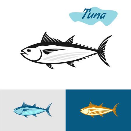 Tuna black silhouette. Simple illustration of a tuna fish. Ilustracja
