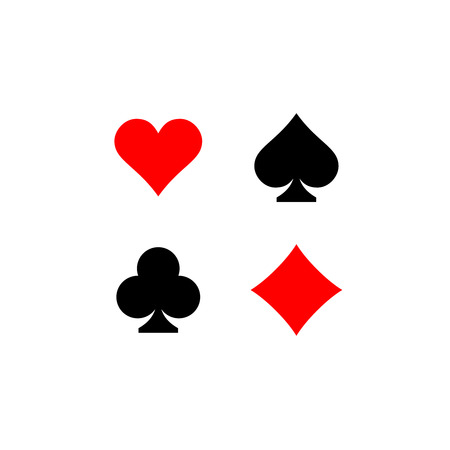 card suits: Playing card suits signs set. Four card symbols.