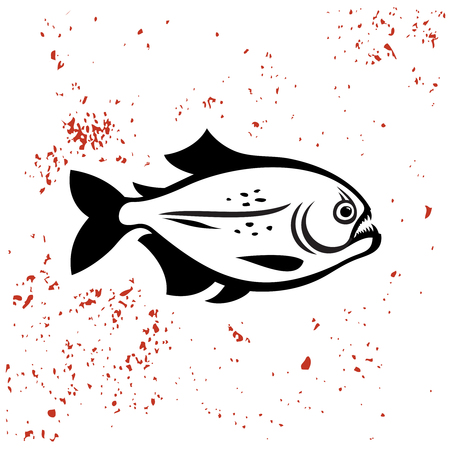 exotic fish: Piranha black silhouette icon. Angry evil dangerous fish illustration. Illustration