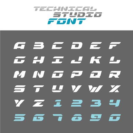 Tech letters stencil font. Wide bold italic techno alphabet. Illustration