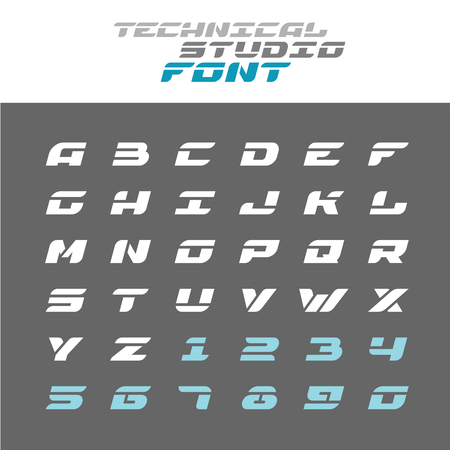 Tech letters stencil font. Wide bold italic techno alphabet. Ilustração