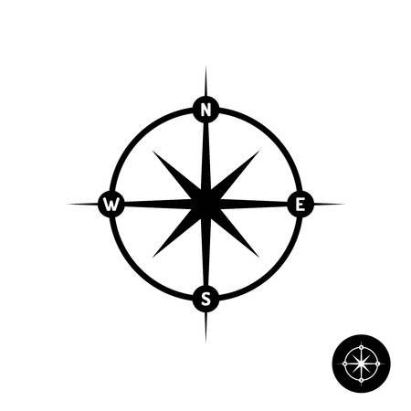 heading: Wind rose star icon with heading letters and circle frame. Simple black color style. Illustration