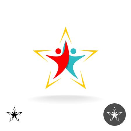 Leute-Ikone. Zwei steigende menschliche Silhouetten in Form von Stern. Vektorgrafik