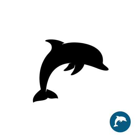 Dolphin icono simple silueta de color negro. símbolo de la libertad del mar.