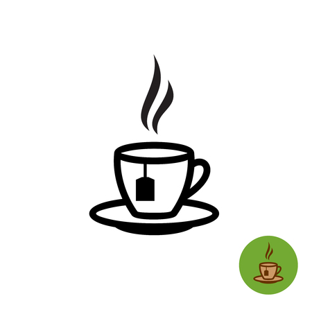 Tea cup black outline silhouette with teabag and fume icon.