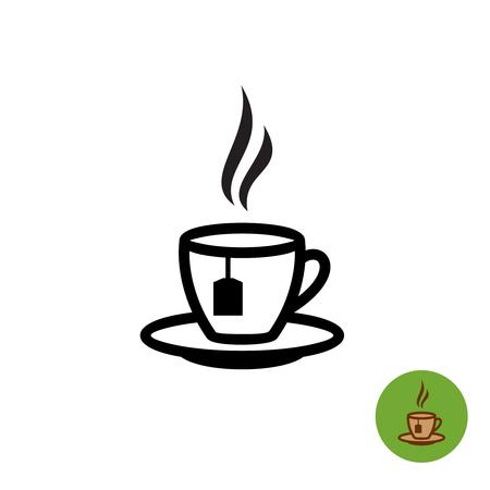 Tea cup contour noir silhouette avec teabag et fumées icône. Vecteurs